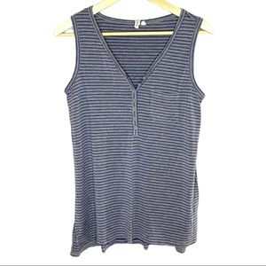 Cable & Gauge button front striped tank